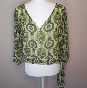 NY&C Green Blouse with 3/4 Sleeves XS